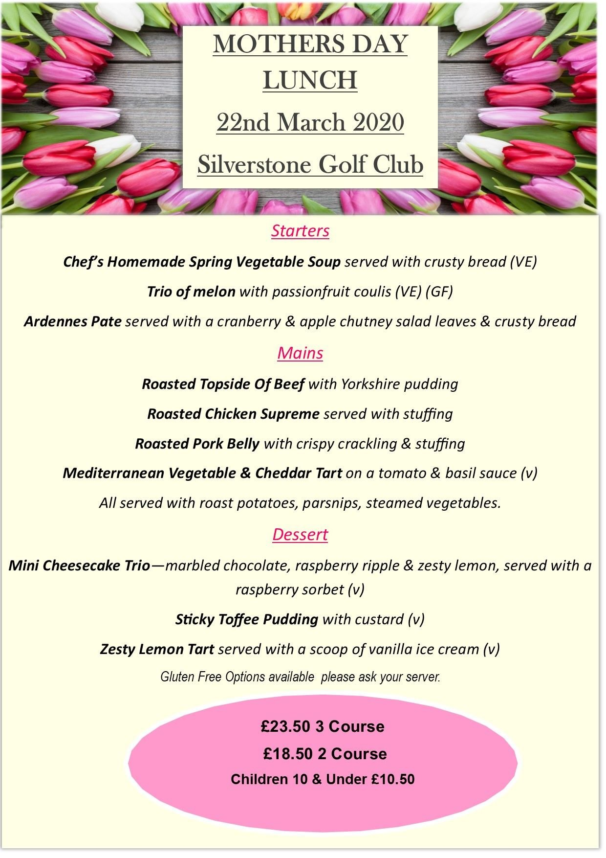 Mothers Day Silverstone Golf Club 2020 Mail Chimp With Menu