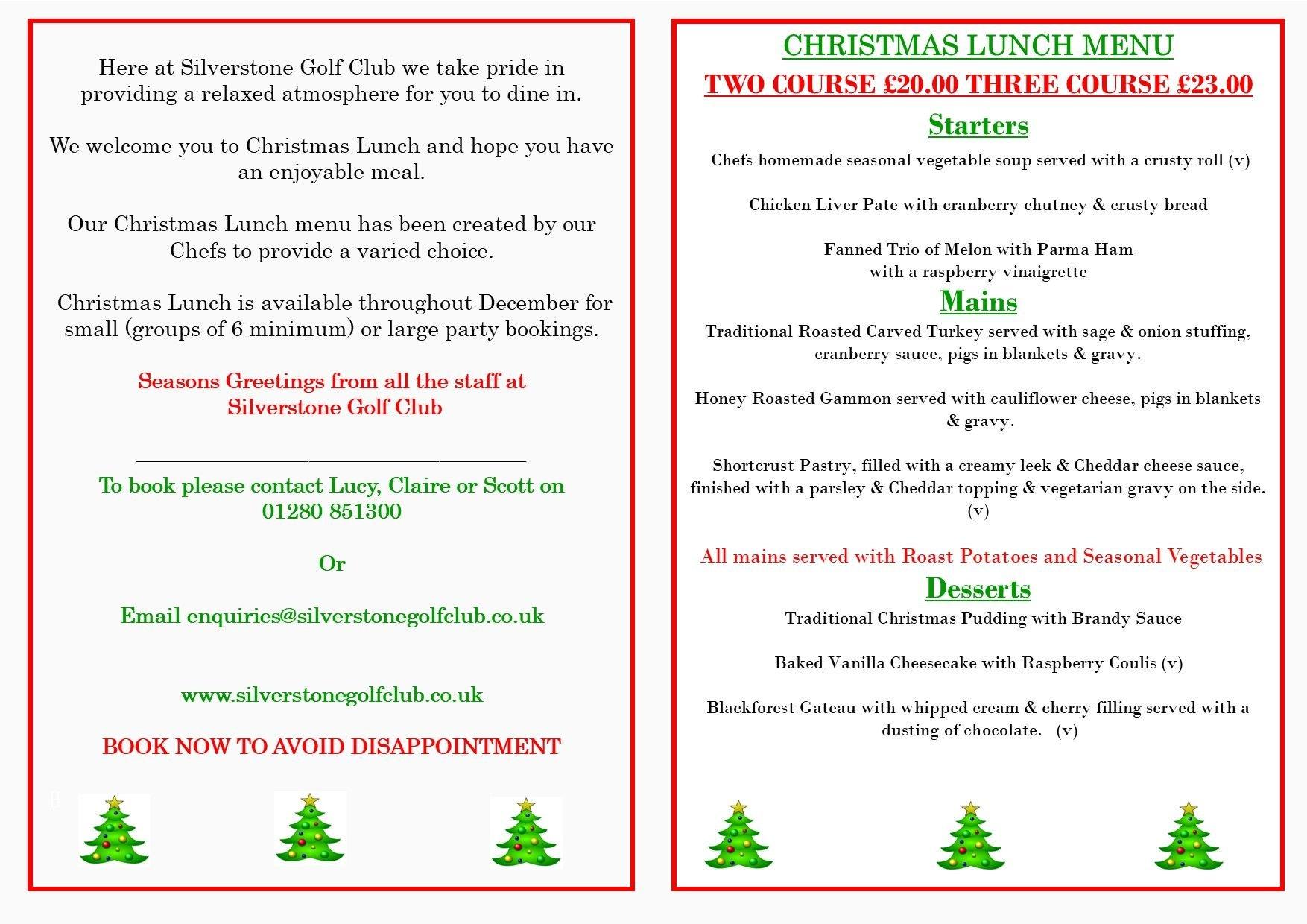 Christmas Lunch Silverstone Golf Club 2021