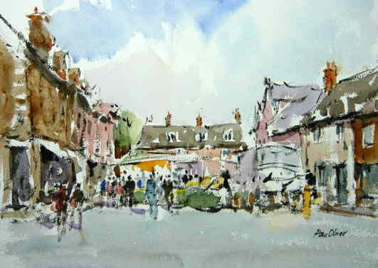 Oakham Market Place. Ink and Wash. 13x10 inches. £375