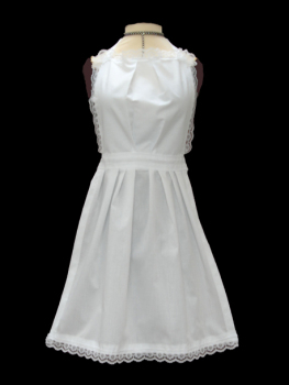 Childs White Full Length Victorian Apron - Lace Edge