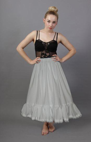 white cotton petticoat lace trim