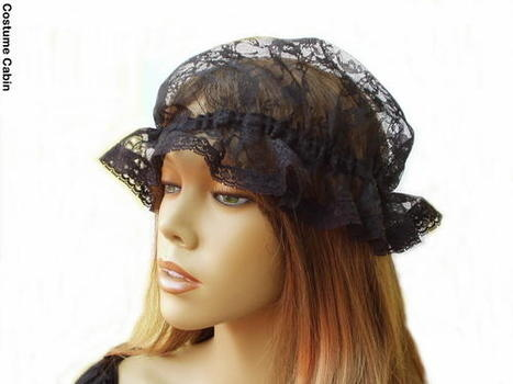 Black Lace Mop Cap