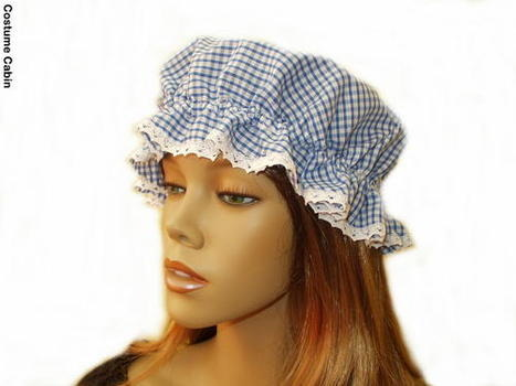 Blue Gingham Mop Cap