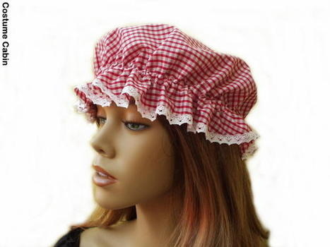 Red Gingham Mop Cap