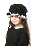 Childs Victorian School Days Black Mop Cap With White Lace