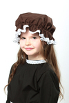Childrens Victorian Days Brown Mop Cap With White Lace