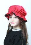 Childs Red Mop Cap With Black Lace Trim
