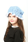 Childs Blue Gingham Mop Cap
