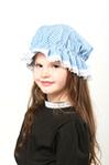Childs Blue Gingham Mop Cap