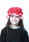Childs Red Mop Cap With White Lace Trim