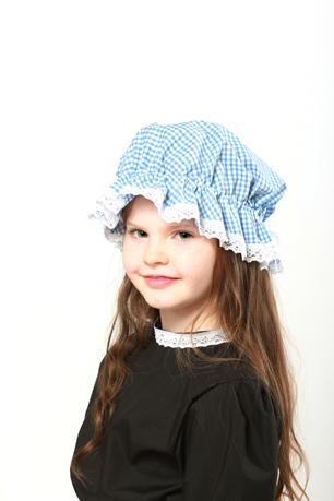 Victorian Blue Gingham Mop Cap