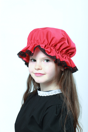 Victorian Red Mop Cap Black Lace