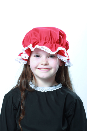 Victorian Red Mop Cap White Lace