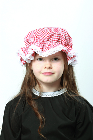 Victorian Red Gingham Mop Cap