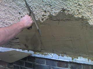 repairing lower area of pebble-dash