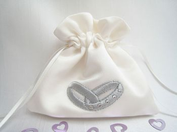 No.6 SILVER GREY  Wedding Ring bag, custom made ring bag UK