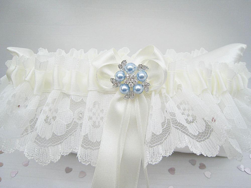 'Coco' Blue Wedding Garter, Ivory Or White Garters Blue, Garters UK