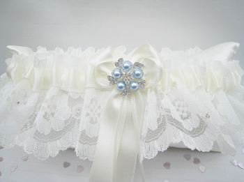 'Coco' Blue Wedding Garter, Ivory Or White Garters Blue, Garters UK