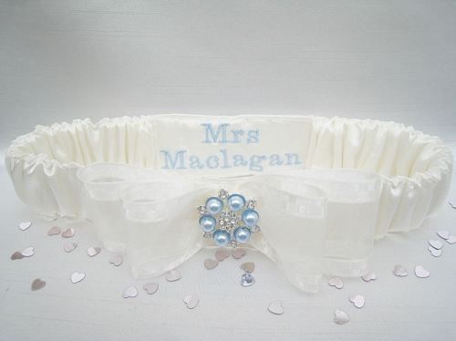 'Nadine' Blue Pearl Wedding Garter, Personalised Garter For Brides