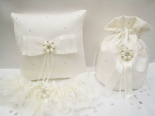 Matching Dolly Bag, Garter & Ring Cushion, All Ivory Or Choose Colours