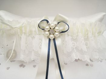 'Bailey' Navy Wedding Garter With Swarovski Sparkles