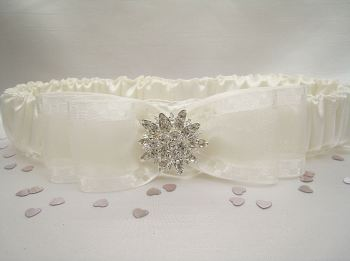 'Bliss' Satin & Diamante Wedding Garter UK