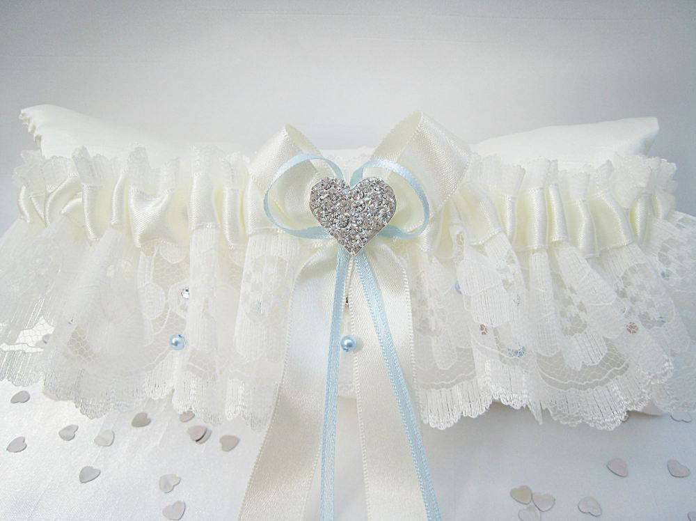 'Emi' Lace Wedding Garter With Swarovski Crystals & Pearls