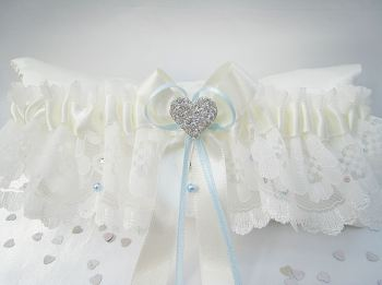 'Emi' Lace Wedding Garter With Swarovski Crystals & Pearls
