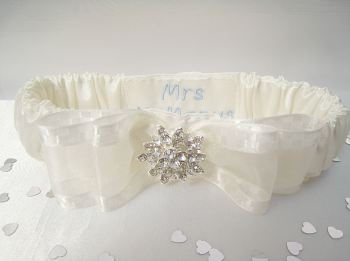 'Bliss' Personalised Wedding Garter, Brides Surname Wedding Garter