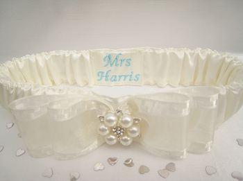 Tiffany Blue Wedding Garter, Script Style Personalised Garter