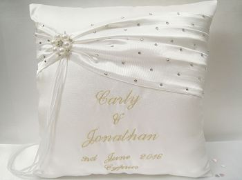 Wedding Ring Cushion Ivory & Gold Or Choose Your Colours