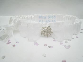 Bliss Luxury Personalised Garter, Crystal Wedding Garter