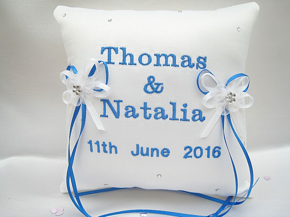 No.1 Mini Personalised Wedding Ring Cushion Choose Your Colours
