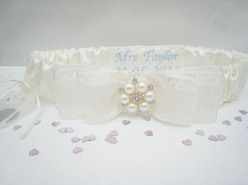 'Jane' Blue Garter Personalised Sixpence Garter UK