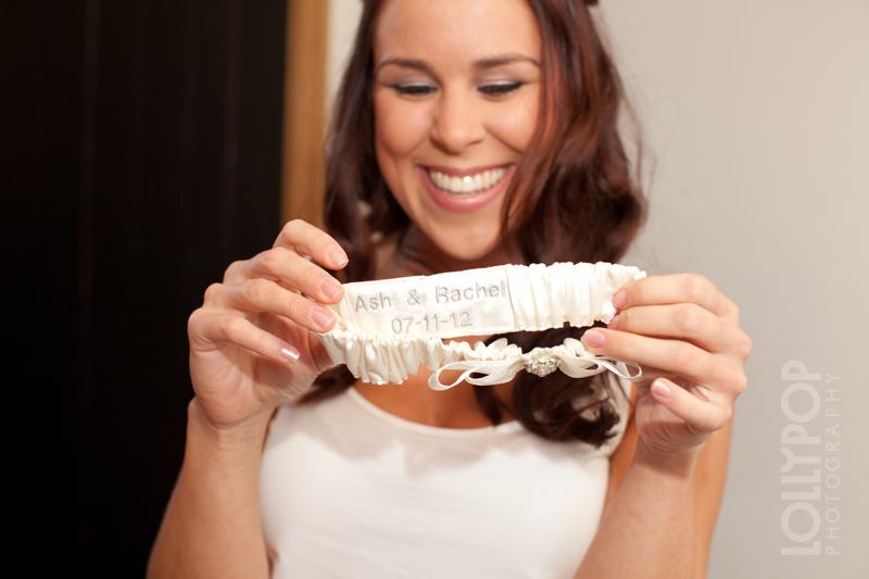 Luxury wedding garter which has been personalised