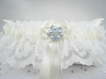 Coco Wedding Garter Swarovki Pearls & Crystals, Wedding Garter UK