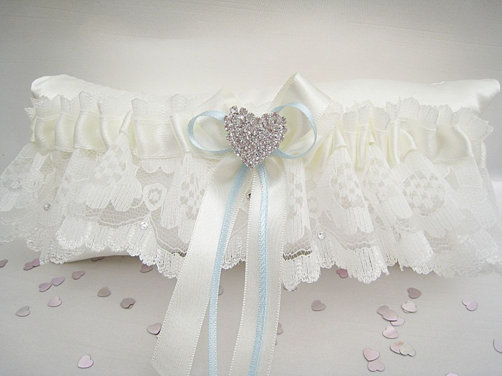 Beau Lace Wedding Garter, Garter For Brides Blue