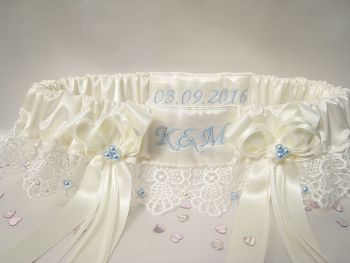 Lace Wedding Garter, Luxury Garter Blue UK