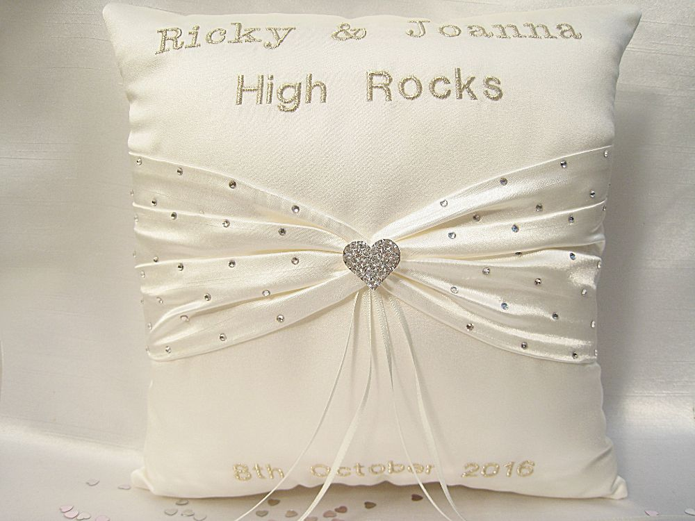 No.2 Diamante Heart Personalised Cushion £41.99