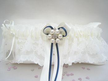 'Bailey' Ivory Or White With Navy Ribbon Wedding Garter