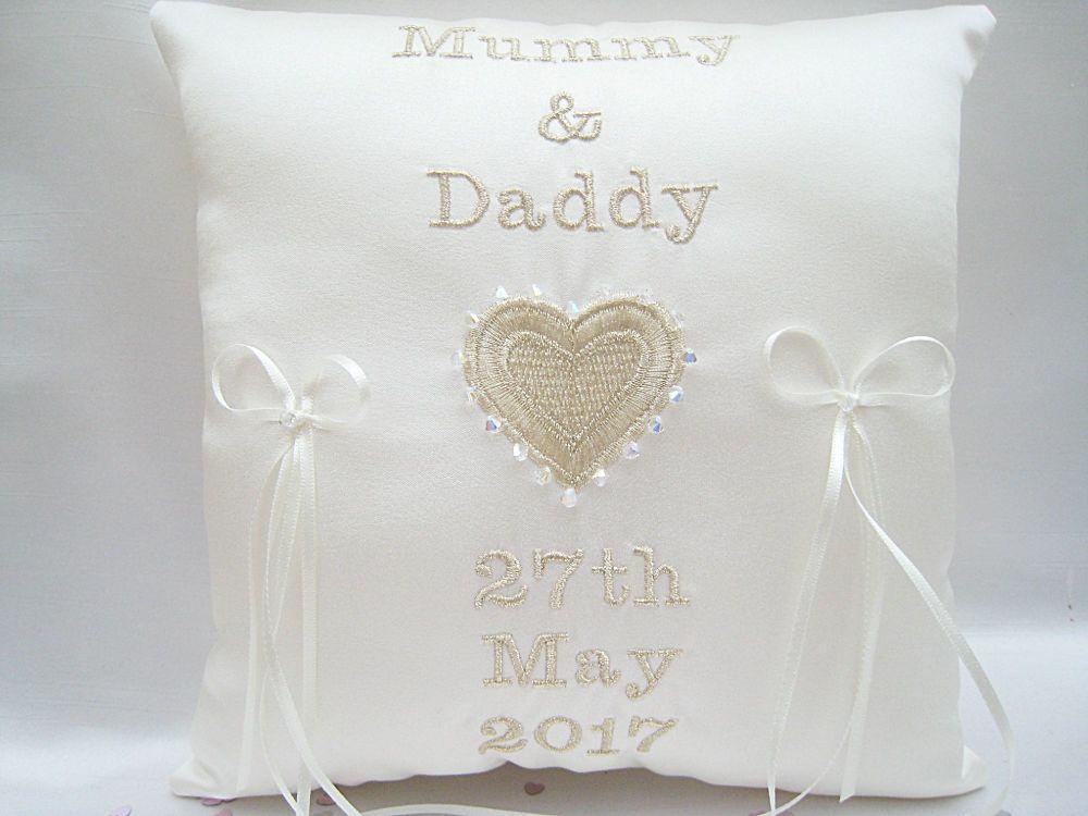 Mummy & Daddy Wedding Ring Cushion/Pillow