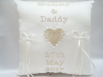 Mummy & Daddy Wedding Ring Cushion