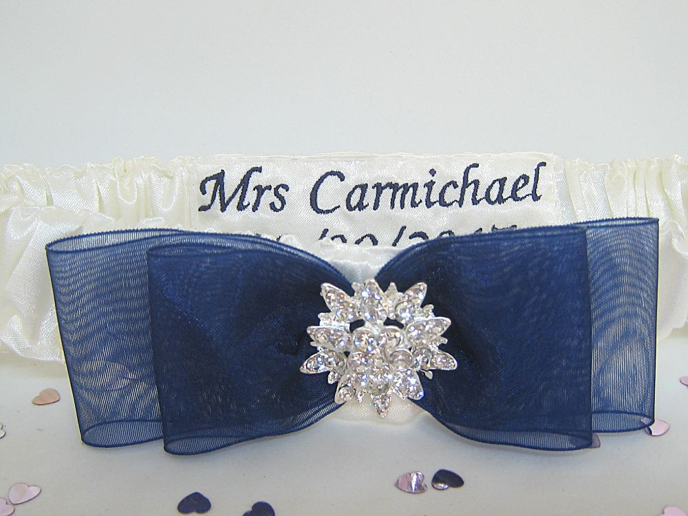 'Bliss' Navy Wedding Garter £26.99