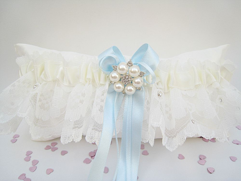 'Bailey' Blue Personalised Wedding Garter £28.99