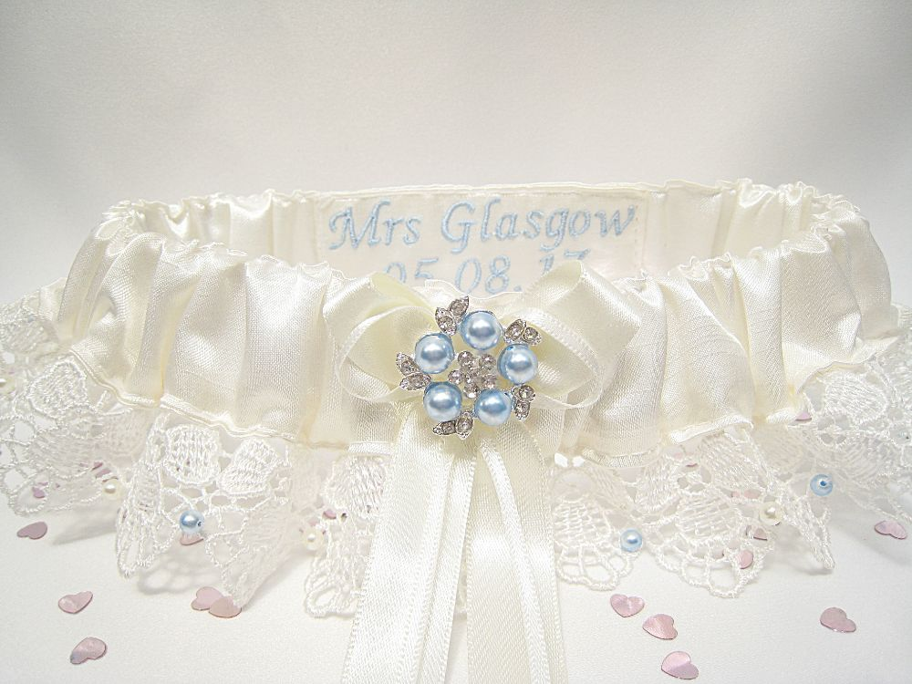 'Belle' Lace Wedding Garter Personalised £39.99