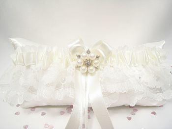Ivory Garter Diamante & Pearls, Ivory Lace Garter Satin & Rhinestone