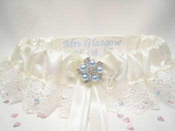 Luxury Belle wedding Garter Blue Swarovski Pearls