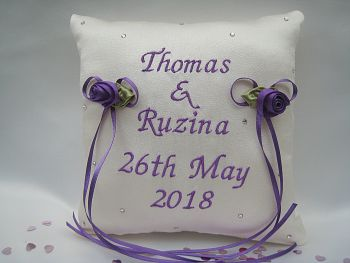 No.2 PURPLE Sparkle Personalised Ring Cushion