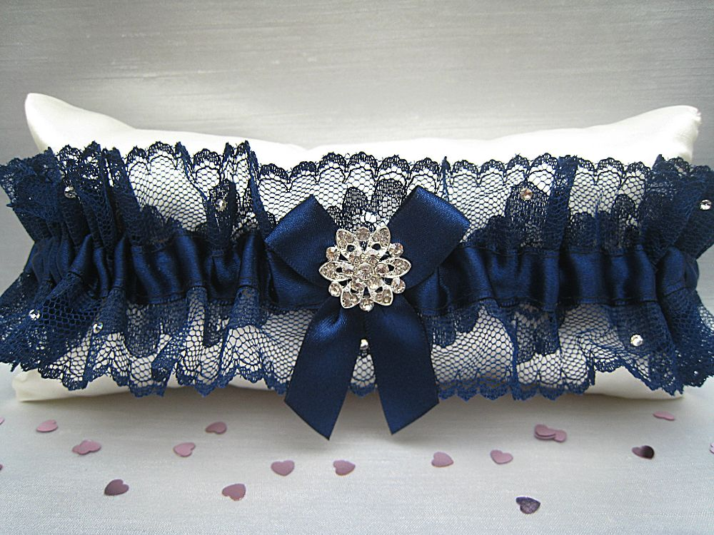 'A' Kate Navy Lace Wedding Garter £29.99