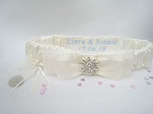 BLISS Garter With Sixpence Bag & Personalised, Sixpence Bag